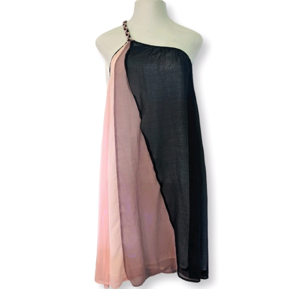 F21 Color Block Pink One Shoulder Sheer Dress 1X